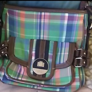 Chaps green plaid  crossover body purse